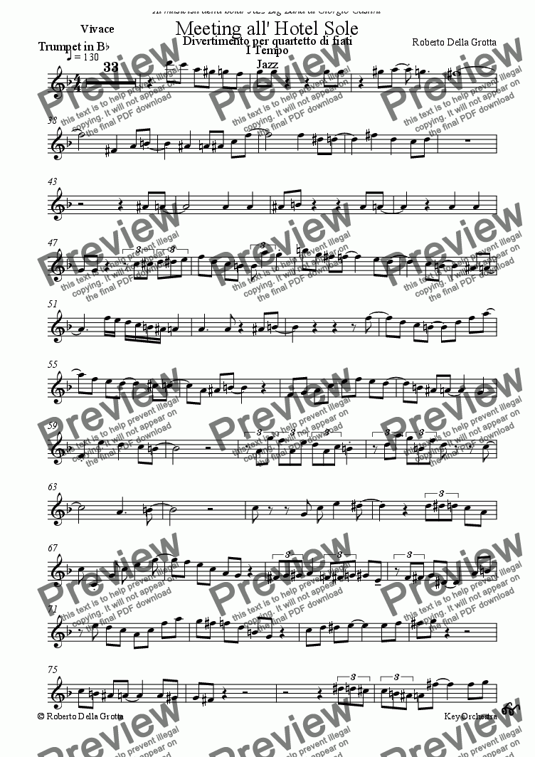 page one of the Trumpet in Bb part from Meeting all'Hotel Sole