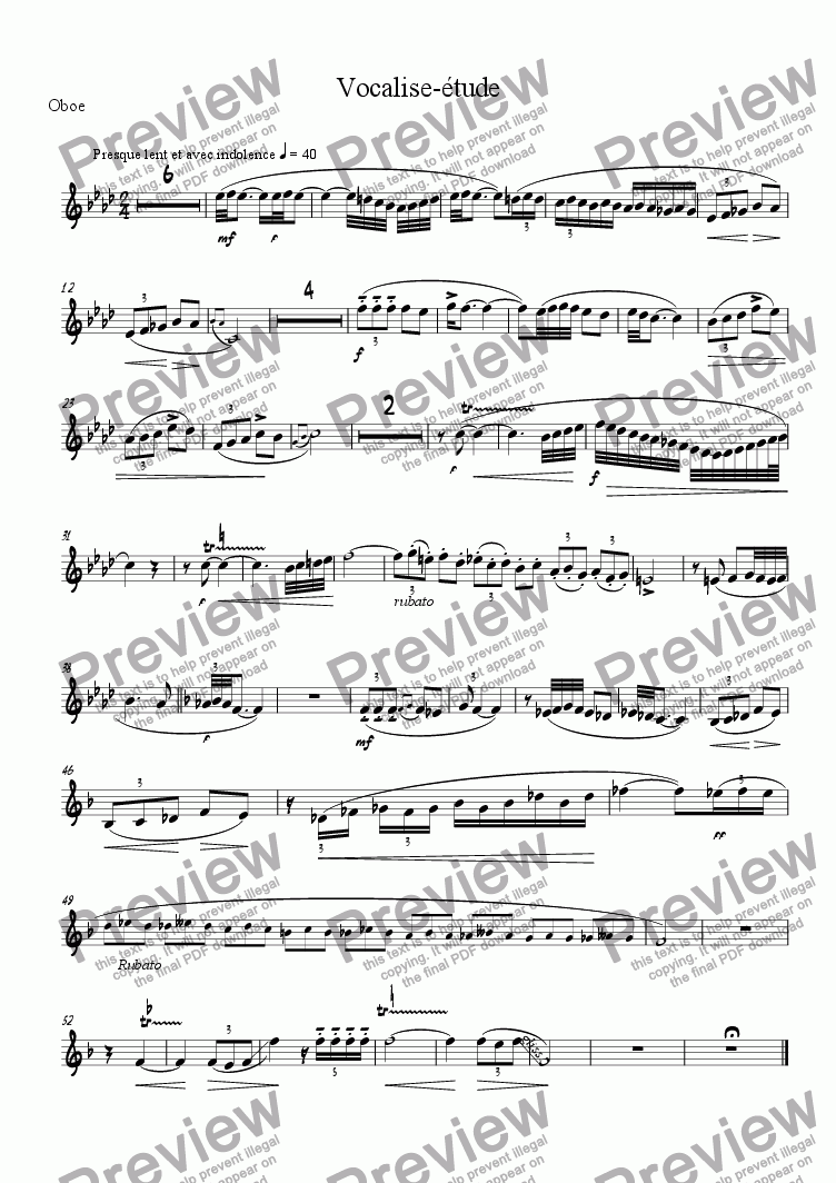 page one of the Oboe part from Vocalise-�tude (En Forme de Habanera)