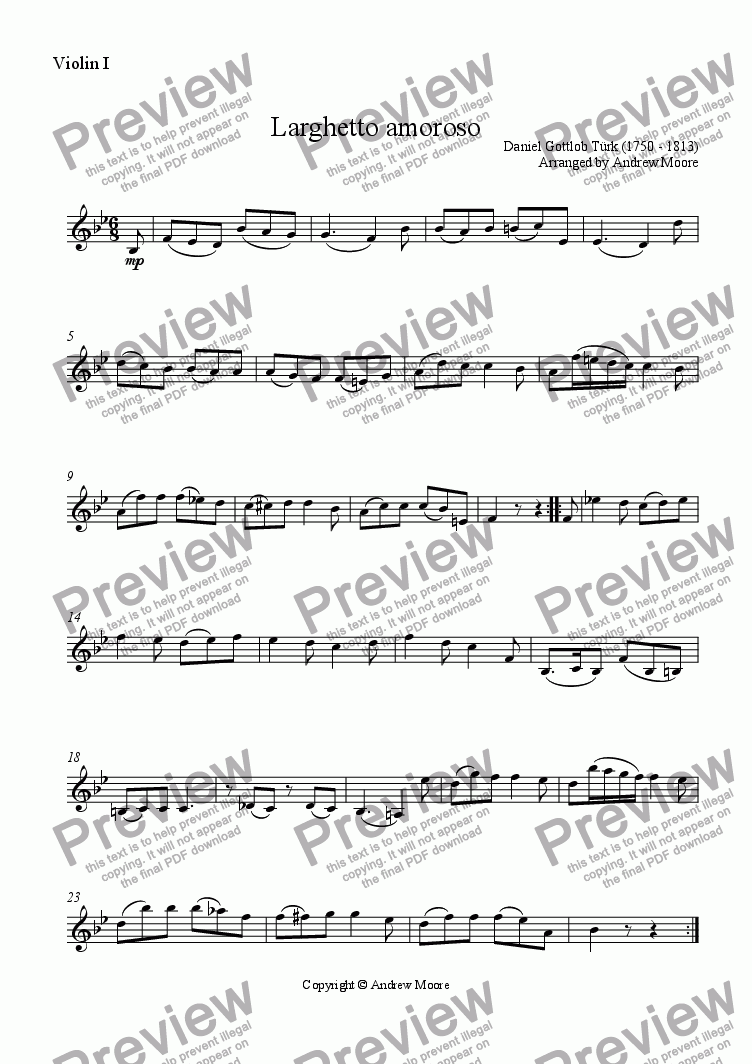 page one of the Violin I part from Larghetto Amoroso arranged for String Trio