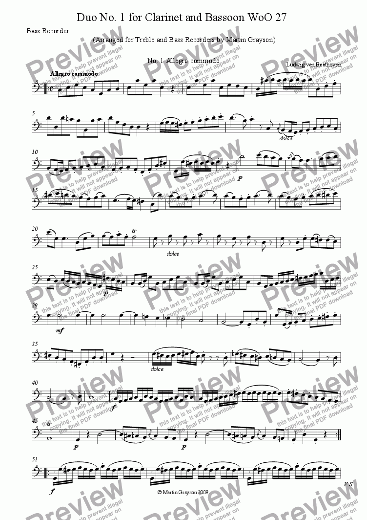page one of the Bass Recorder part from Duo No. 1 for Clarinet and Bassoon, arranged for Treble and Bass Recorders