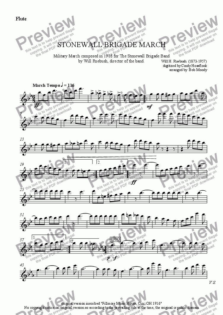 page one of the Flute/Piccolo part from Stonewall Brigade March