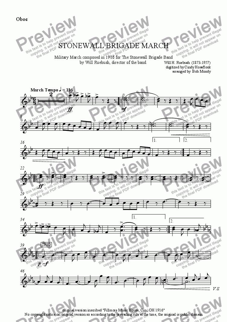 page one of the Oboe part from Stonewall Brigade March
