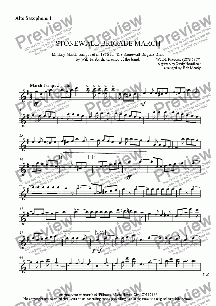 page one of the Alto Sax 1 part from Stonewall Brigade March
