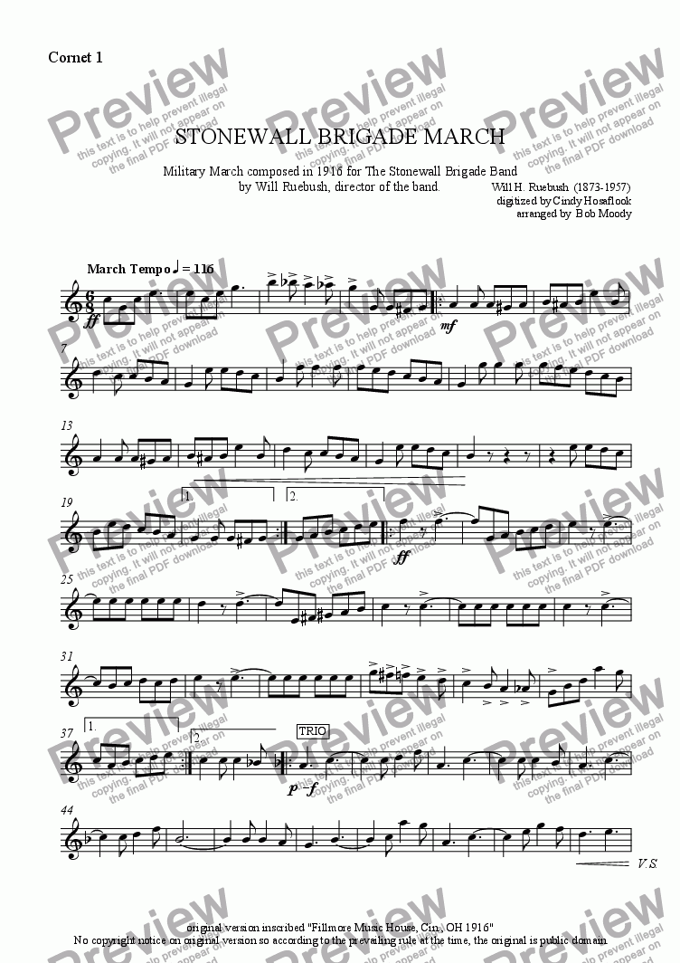 page one of the Cornet 1 part from Stonewall Brigade March