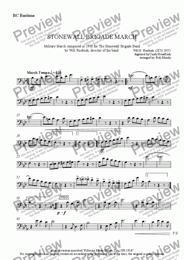 page one of the B. C. Baritone part from Stonewall Brigade March