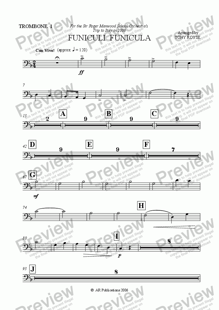 page one of the Trbn. 1 part from Funiculi Funicula for School Orchestra