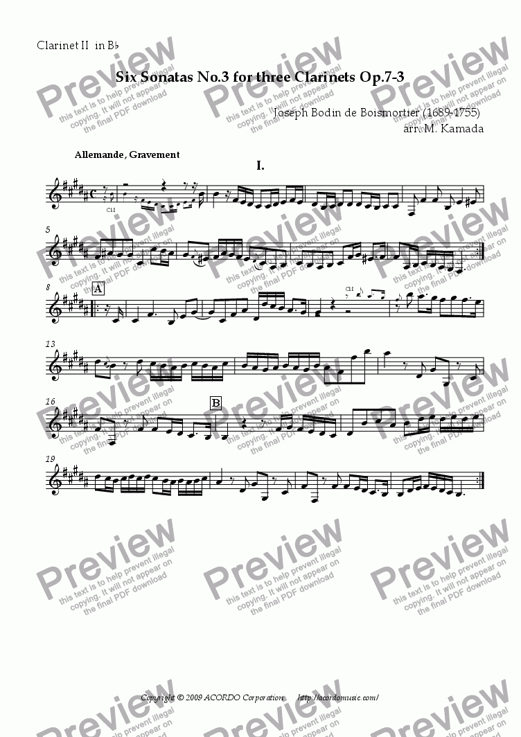 page one of the Clarinet II in Bb part from Six Sonatas No.3 for three Clarinets Op.7-3