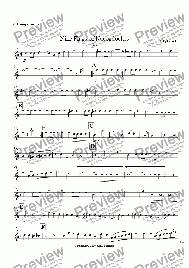 page one of the 1st Trumpet part from Nine Flags of Nacogdoches
