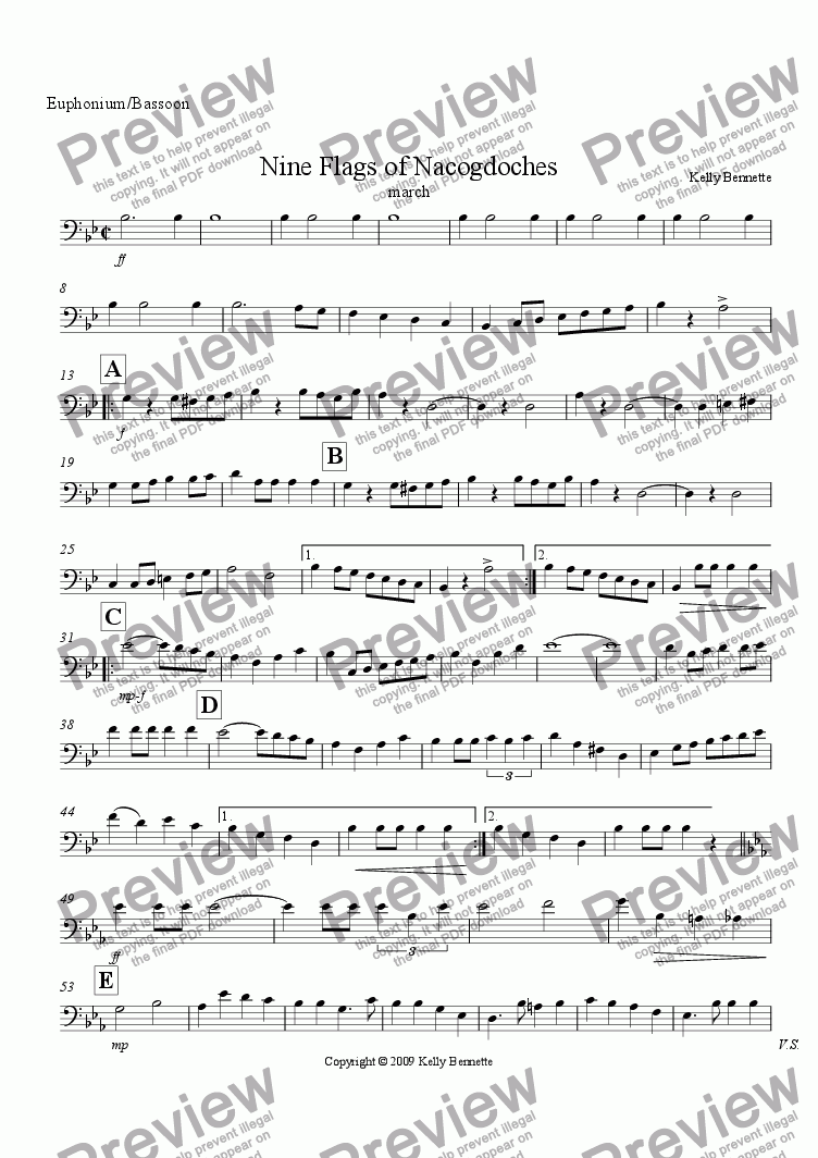 page one of the Euphonium/Bassoon part from Nine Flags of Nacogdoches