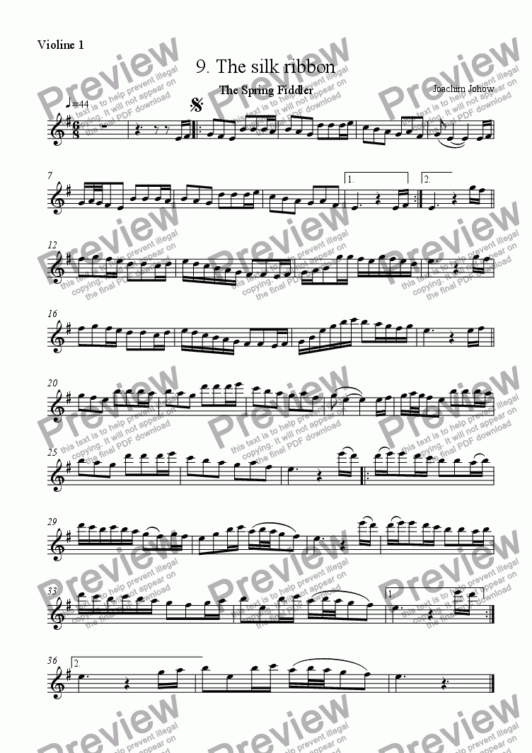 page one of the Vl part from Spring Fiddler 09 (The silk ribbon)