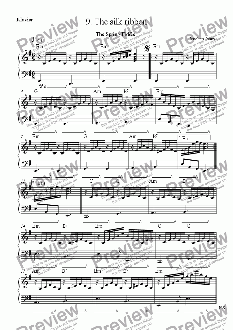 page one of the Piano Harm part from Spring Fiddler 09 (The silk ribbon)