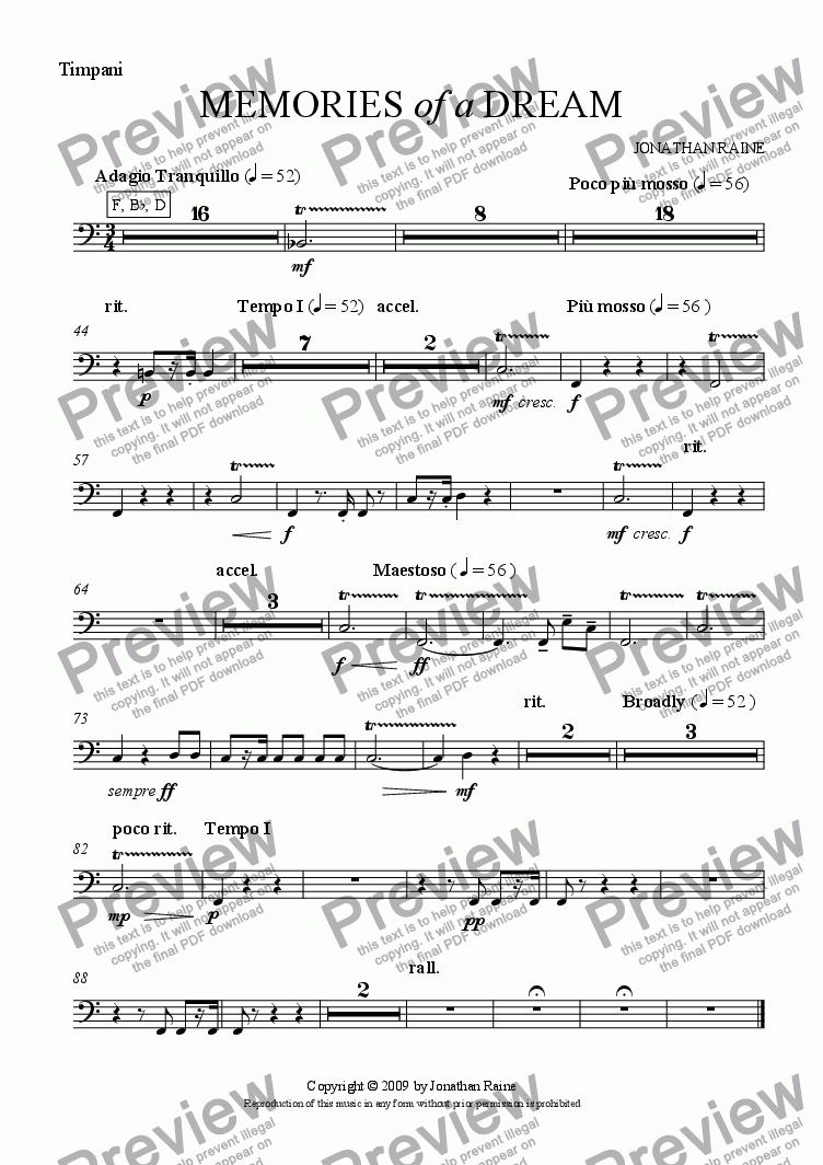 page one of the Timpani part from Memories of a Dream