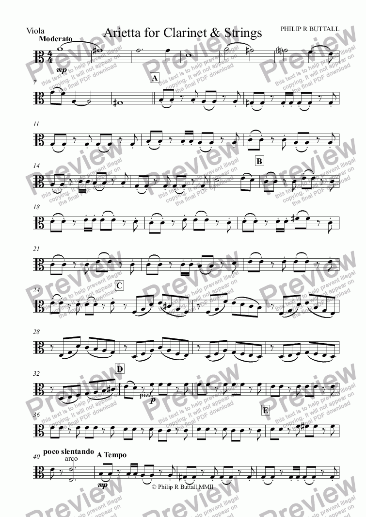 page one of the Viola part from Arietta for Clarinet or Bassoon & Strings