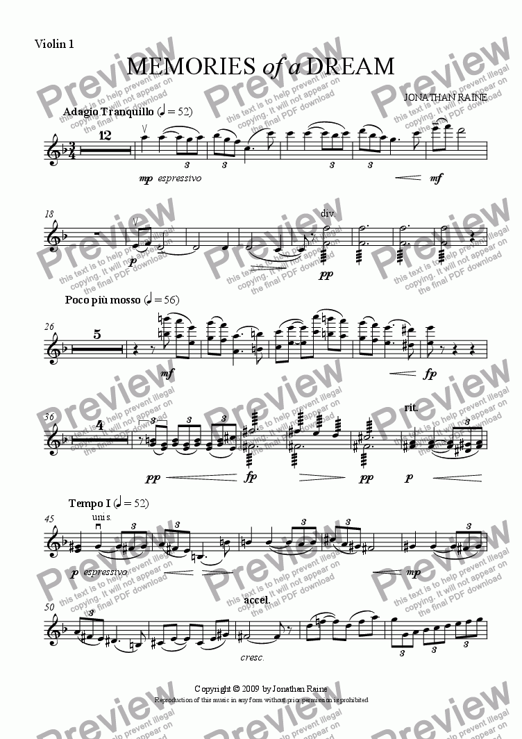 page one of the Violin 1 part from Memories of a Dream