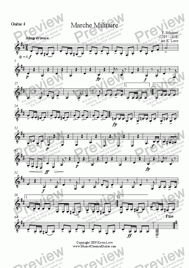 page one of the Guitar 4 part from Marche Militaire (Quartet)