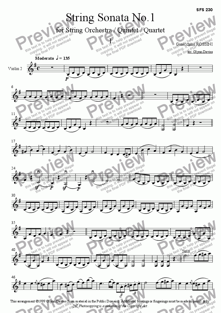 page one of the Violin 2 part from String Sonata No.1 - 1. Moderato