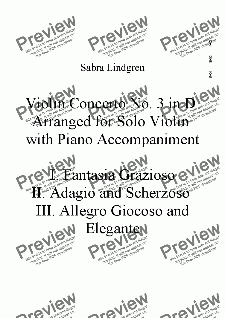 page one of the Piano part from Violin Concerto No. 3 in D Arranged for Solo Violin with Piano Accompaniment, II. Adagio and Scherzo