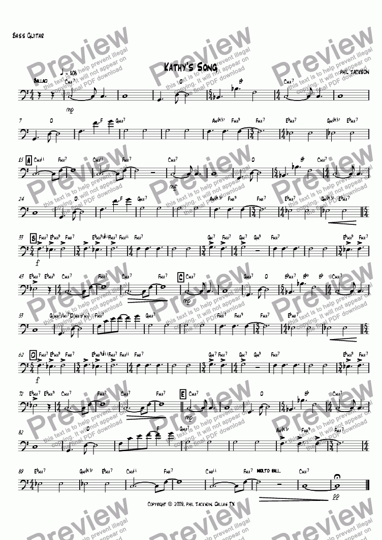 page one of the Bass Guitar part from Kathy's Song