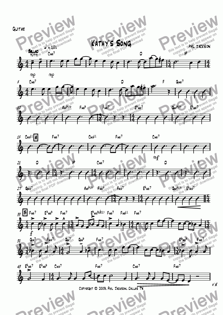page one of the Guitar part from Kathy's Song