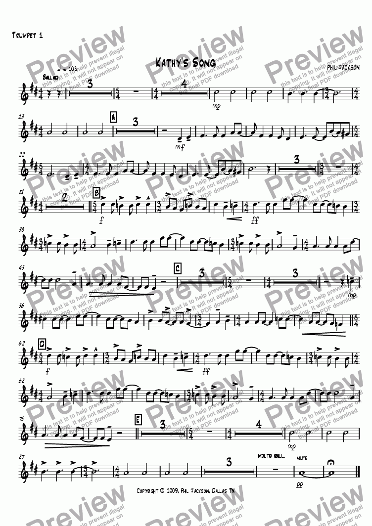 page one of the Trumpet 1 part from Kathy's Song
