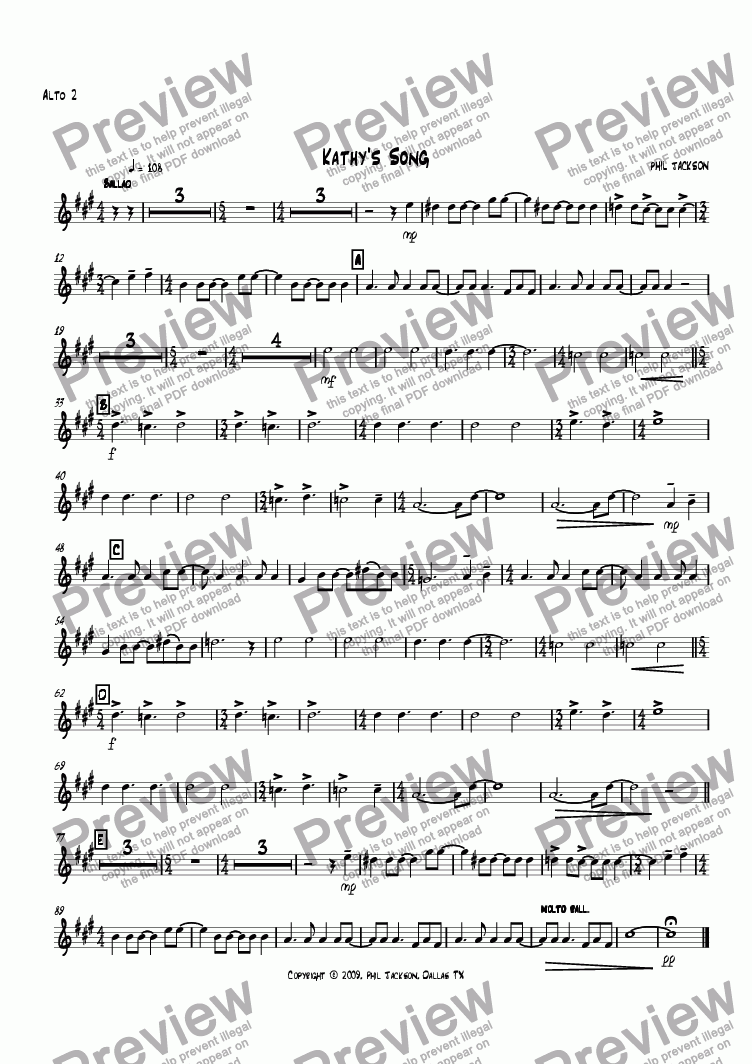 page one of the Alto Sax 2 part from Kathy's Song