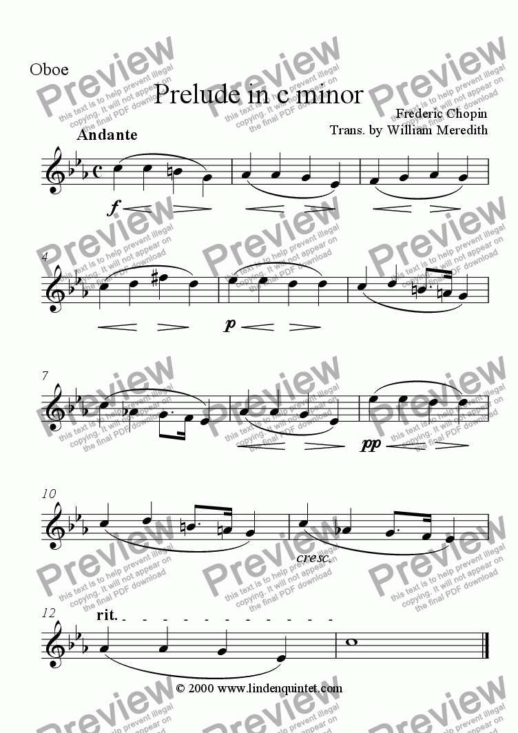 page one of the Oboe part from Chopin - Prelude in c Minor