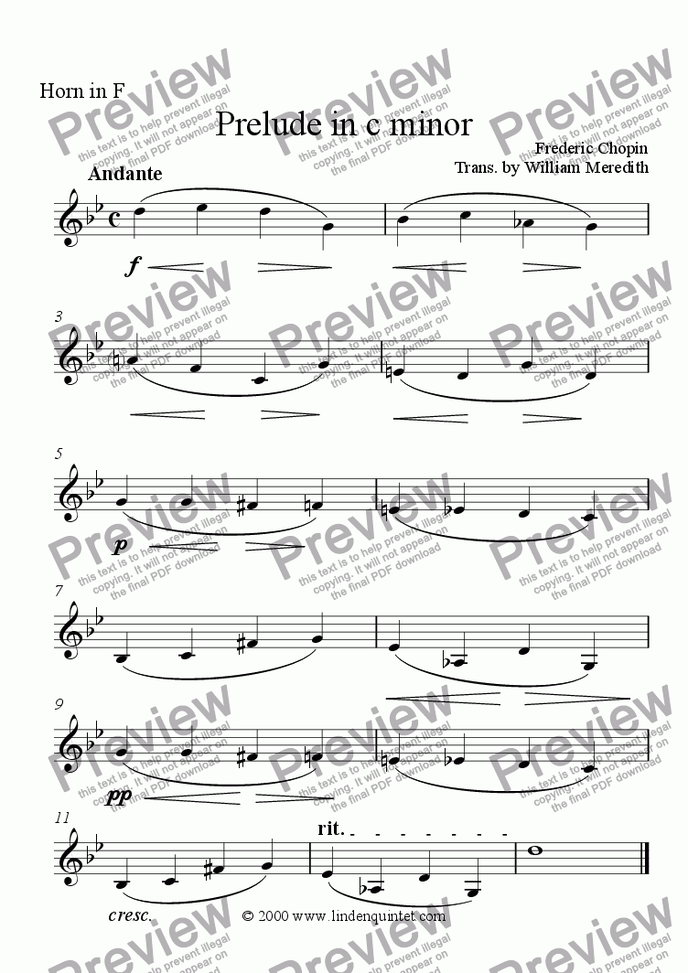 page one of the Horn part from Chopin - Prelude in c Minor