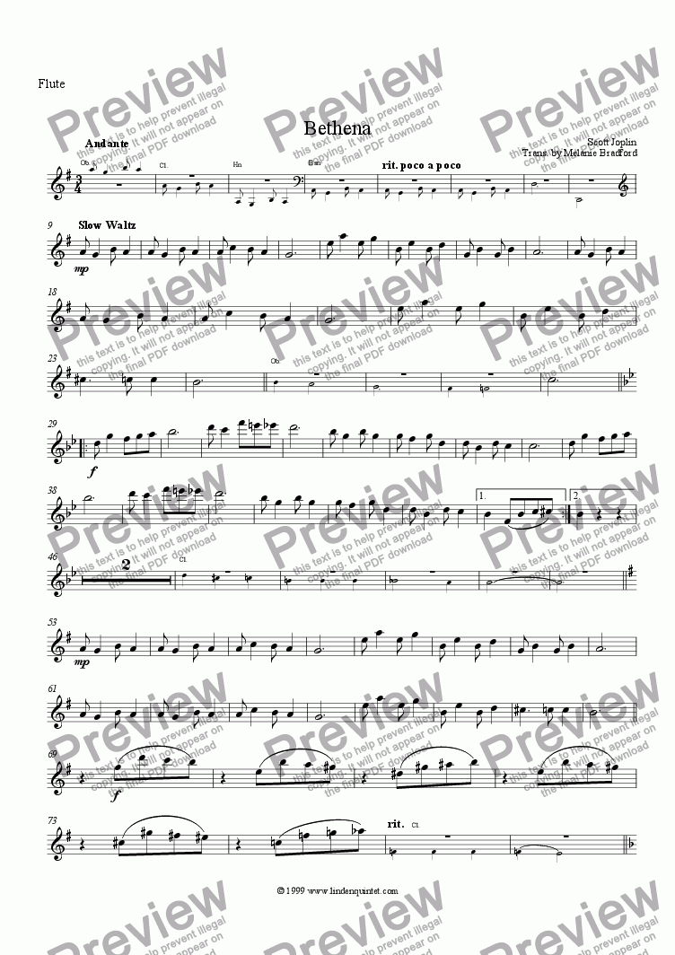 page one of the Flute part from Joplin - Bethena