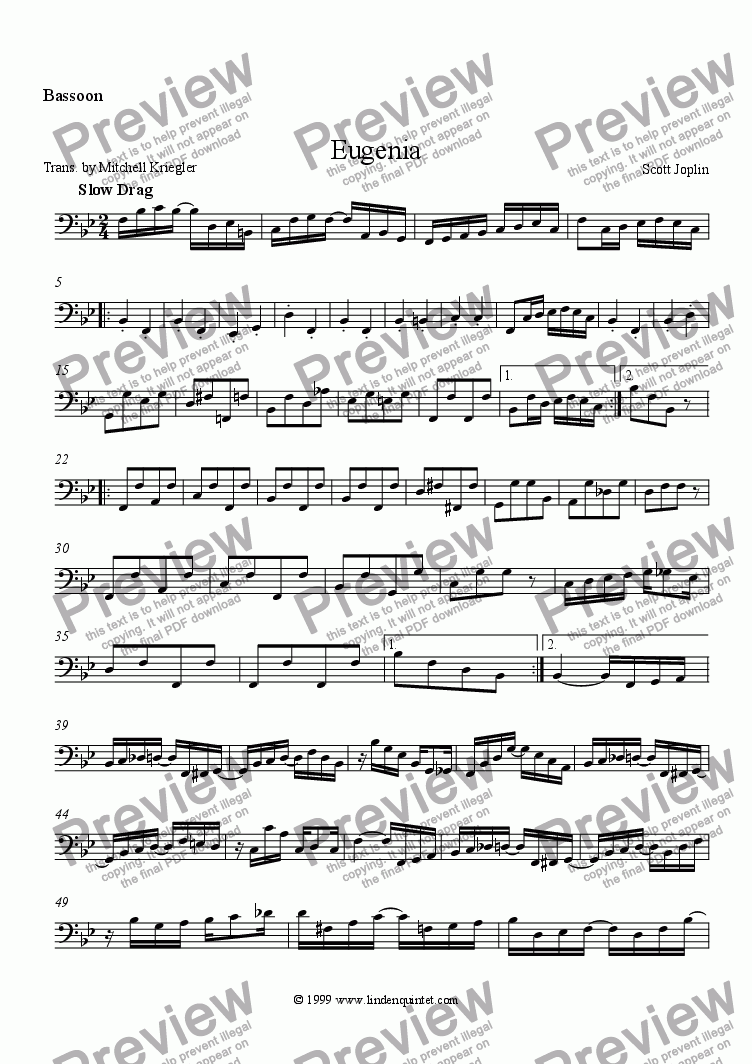 page one of the Bassoon part from Joplin - Eugenia