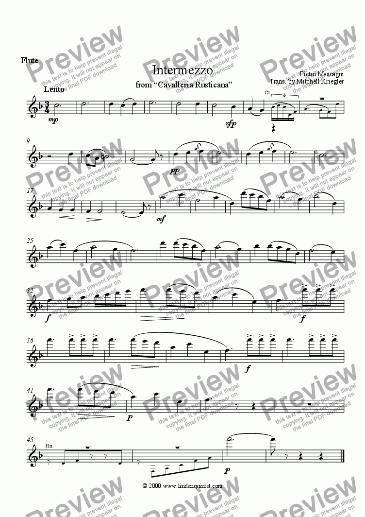 "page one of the Flute part from Mascagni - Intermezzo from ""Cavallria Rusticana"""