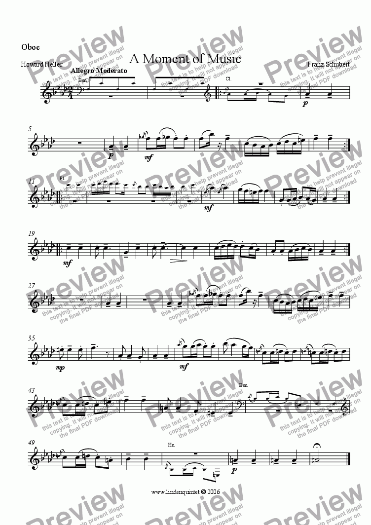 page one of the Oboe part from Schubert - A Moment of Music