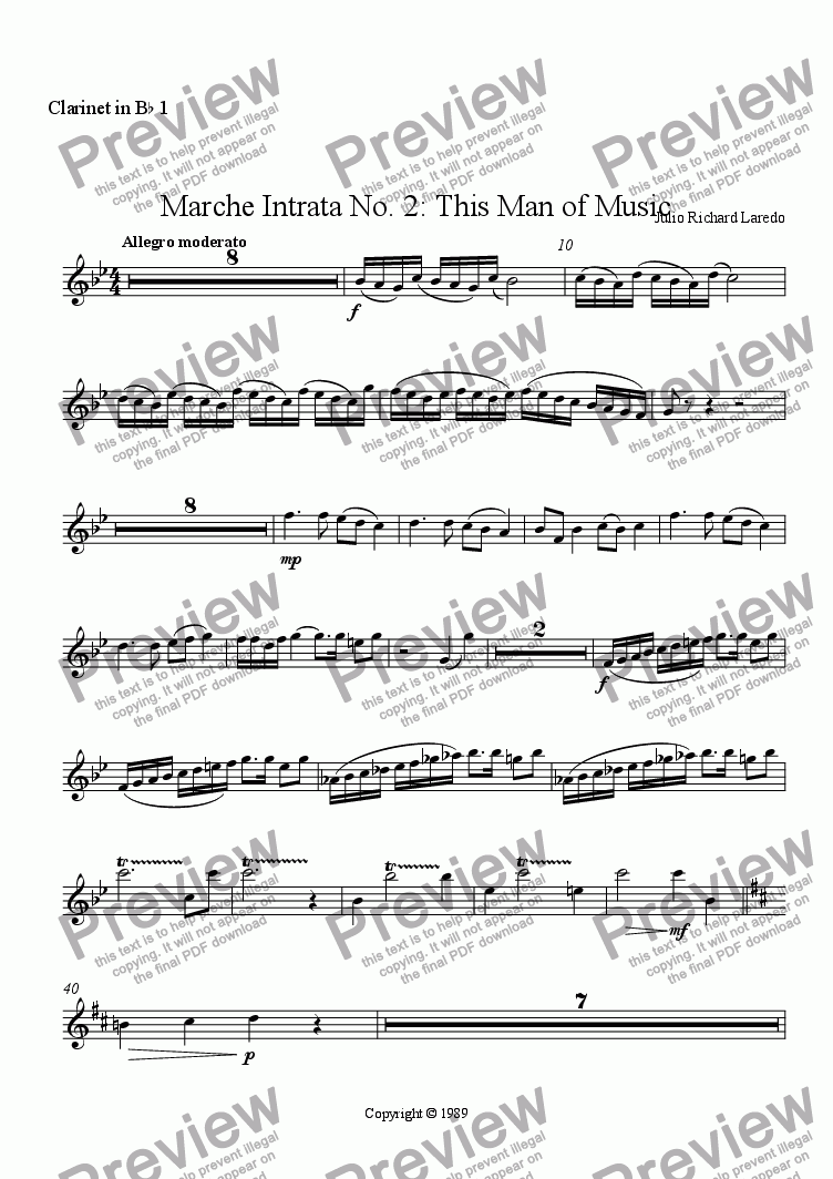 page one of the Clarinet in B-flat 1 part from Marche Intrata No. 2: This Man of Music