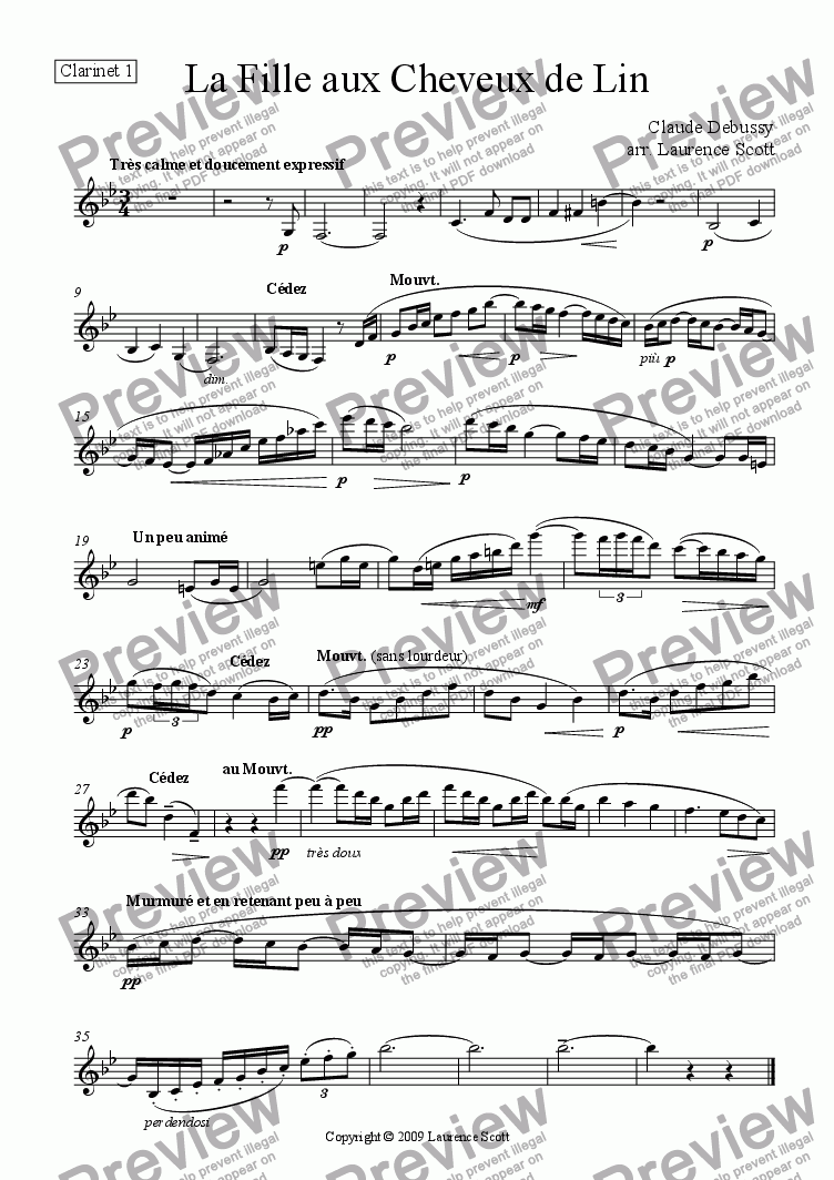 page one of the Clarinet 1 part from 'La Fille aux Cheveux de Lin' for clarinet quartet