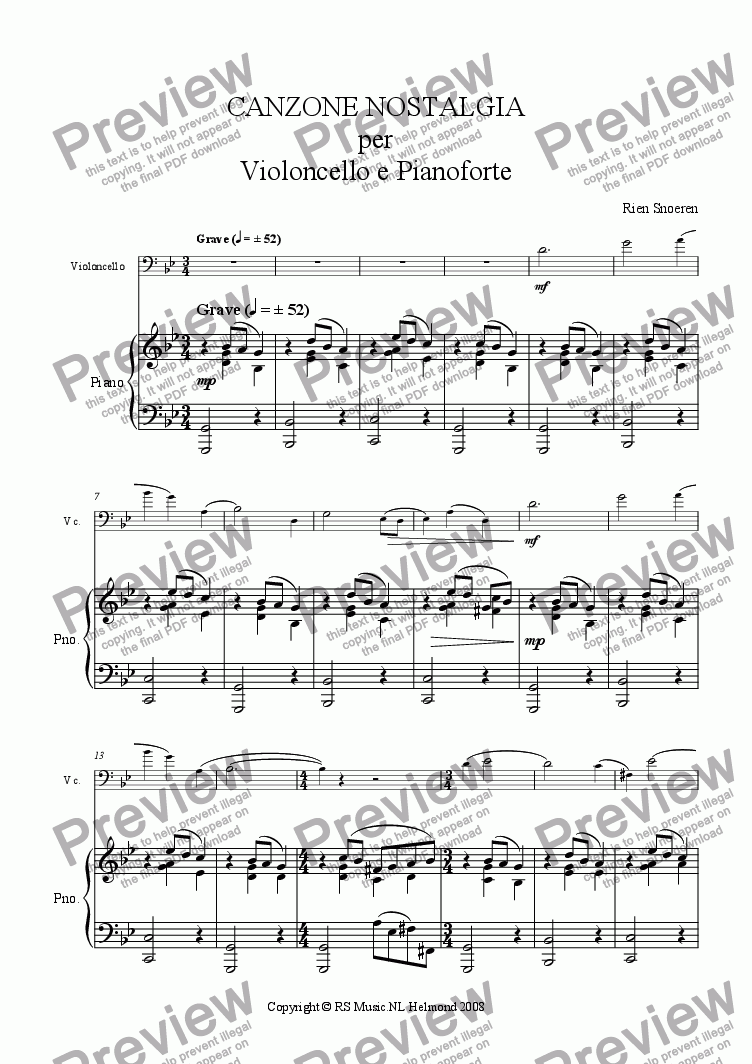page one of the Violoncello part from Canzone Nostalgia