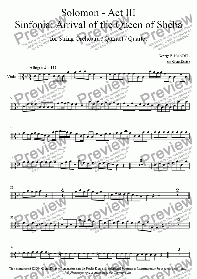 "page one of the Viola part from Solomon - Act III, Sinfonia ""Arrival of the Queen of Sheba"""
