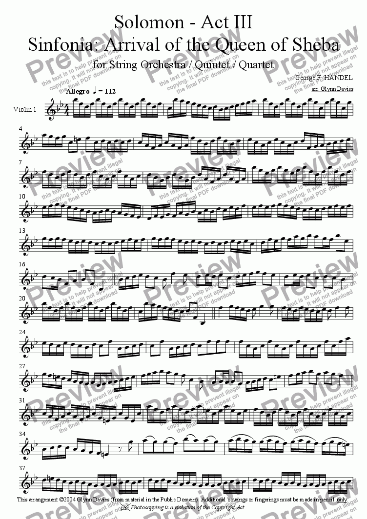 "page one of the Violin 1 part from Solomon - Act III, Sinfonia ""Arrival of the Queen of Sheba"""