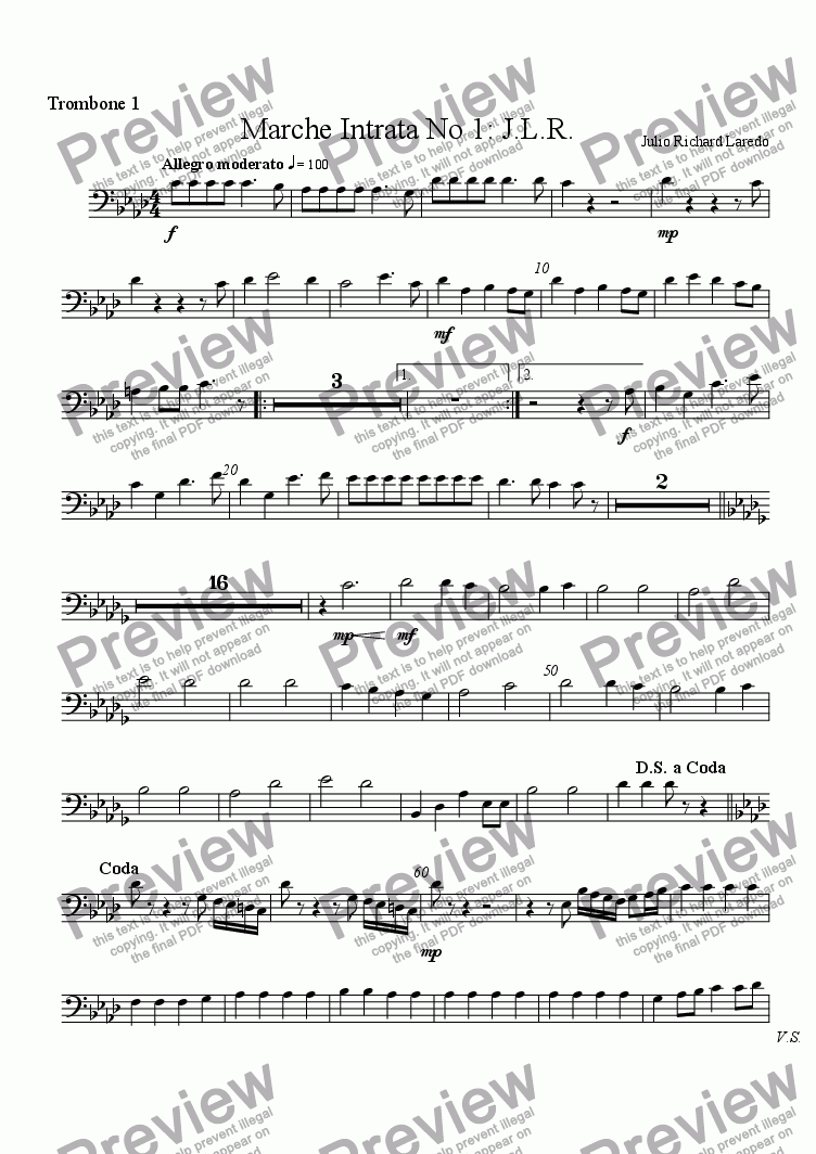 page one of the Trombone 1 part from Marche Intrata No. 1: J. L. R.