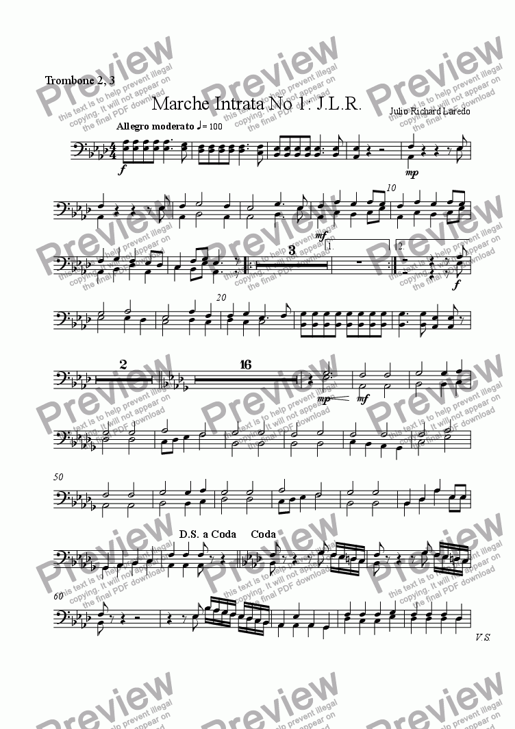 page one of the Trombone 2, 3 part from Marche Intrata No. 1: J. L. R.