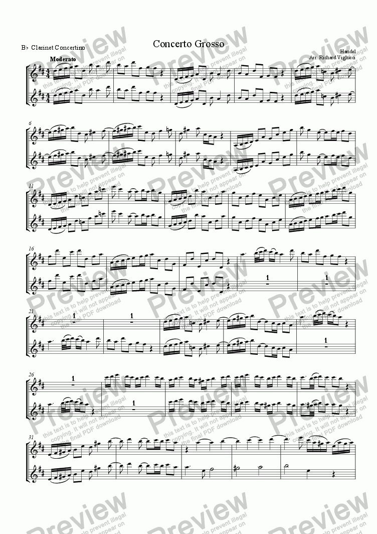 page one of the Concertino Bb Clarinets part from Concerto Grosso