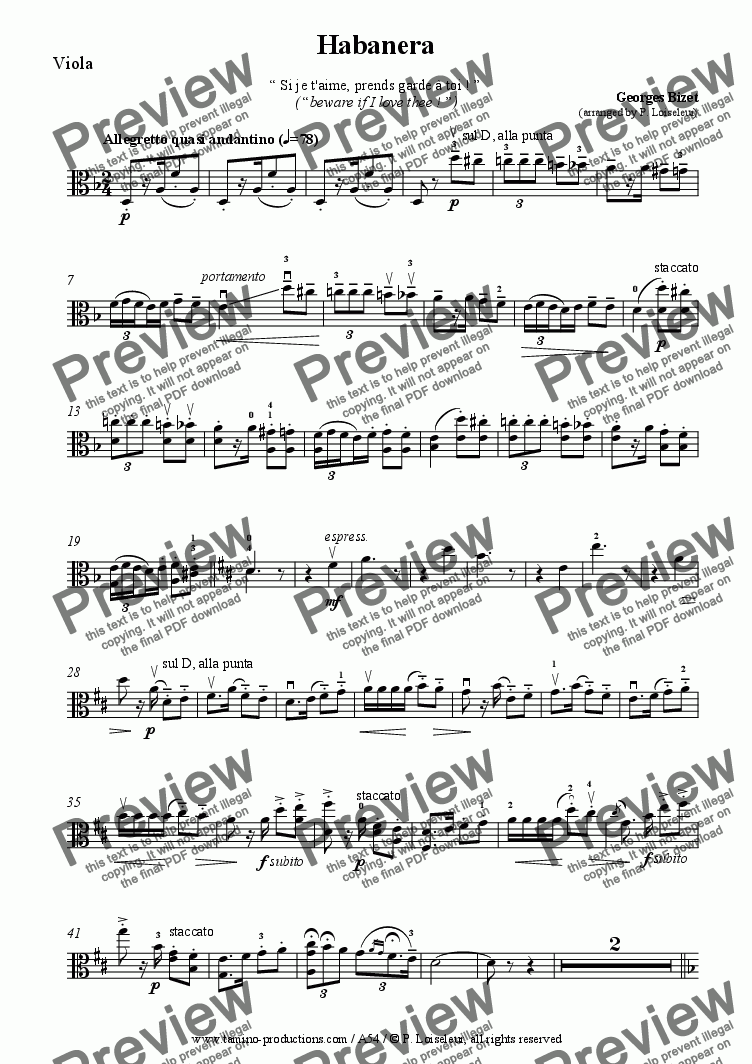 page one of the Viola part from Bizet: Habenara from Carmen, for viola and piano