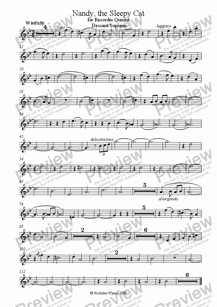page one of the Soprano/Descant Recorder part from Nandy, the Sleepy Cat for Recorder Quintet