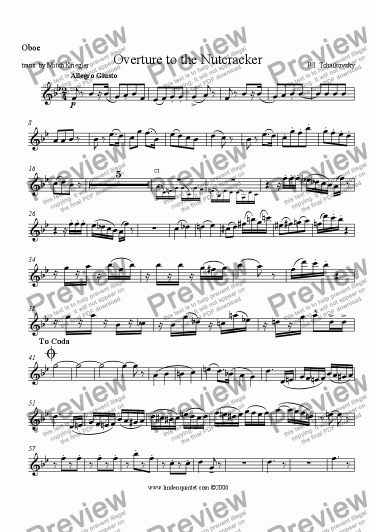 page one of the Oboe part from Tchaikovsky - Nutcracker - Overture