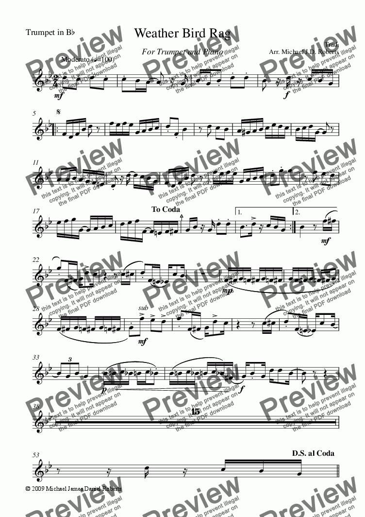 page one of the Trumpet part from Weather Bird Rag