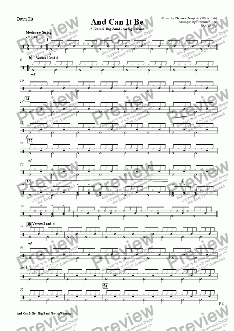 page one of the Drum Kit part from And Can It Be (Sagina) - Big Band (Swing Version)