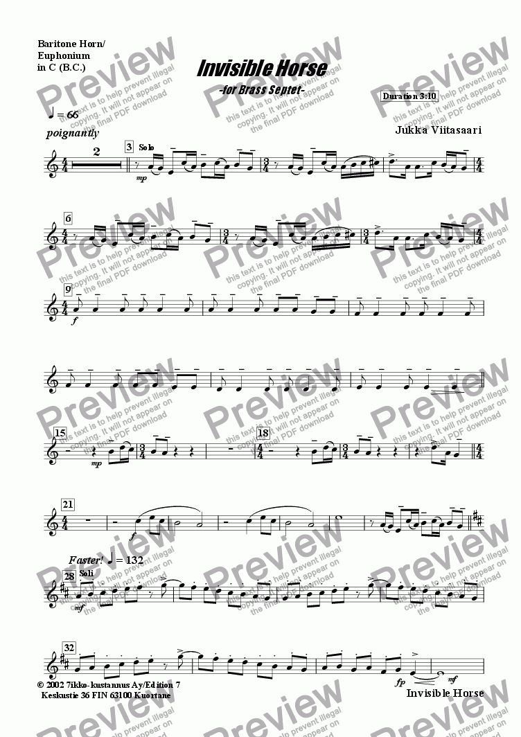 page one of the Baritone Horn B.C. part from Invisible Horse (brass septet)