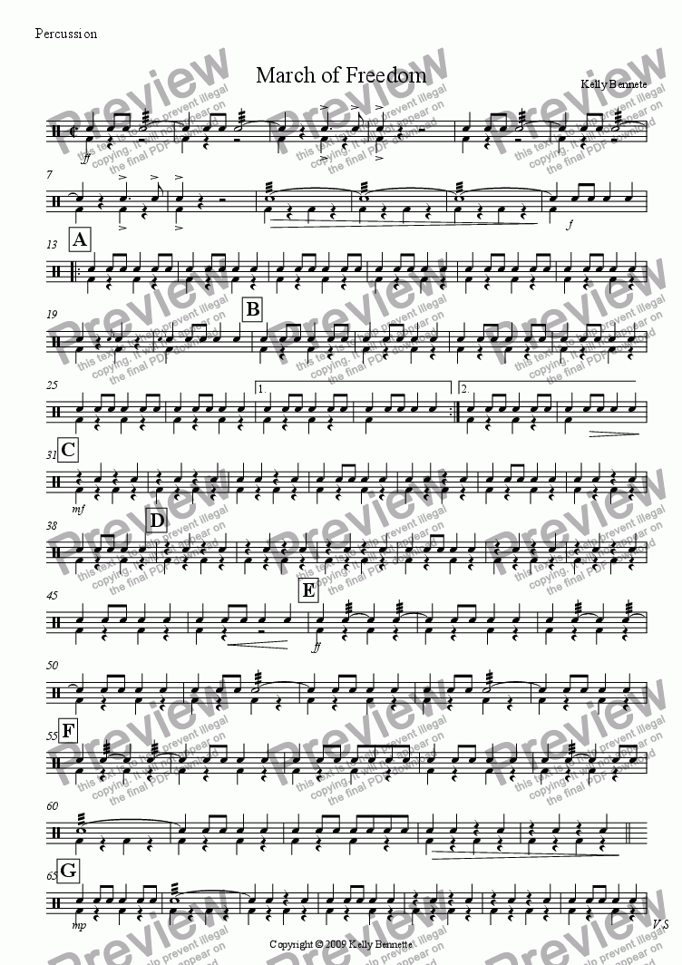 page one of the Snare/Bass drum part from March of Freedom