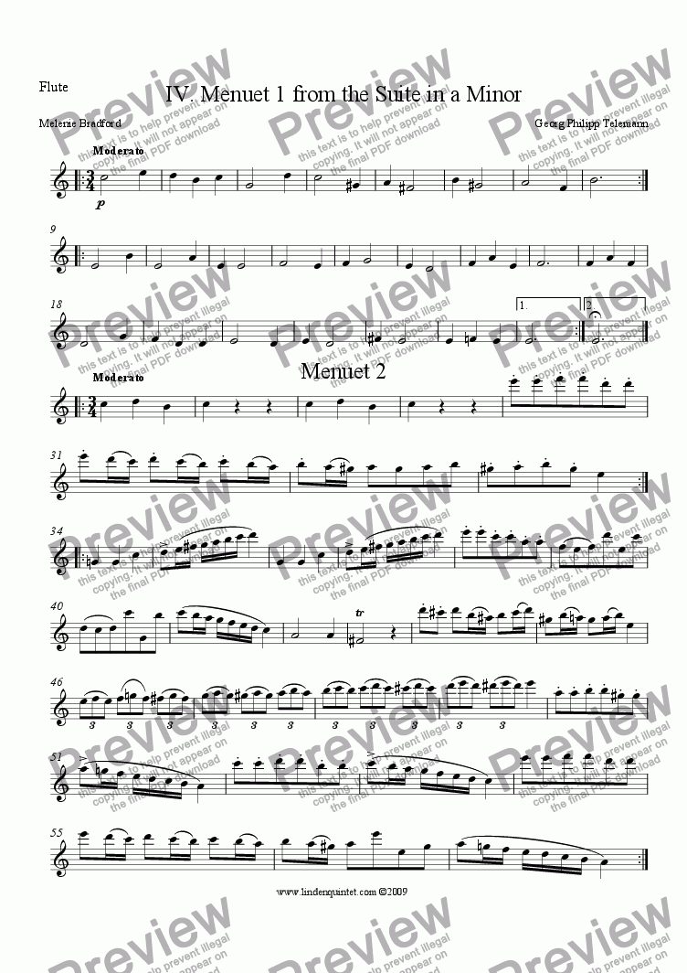 page one of the Flute part from Telemann - Suite in a Minor No. IV Menuets 1 & 2