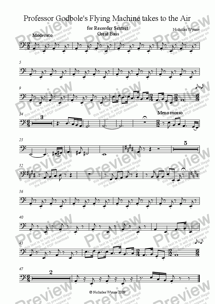 page one of the Great Bass Recorder part from Professor Godbole's Flying Machine takes to the Air for Recorder Sextet