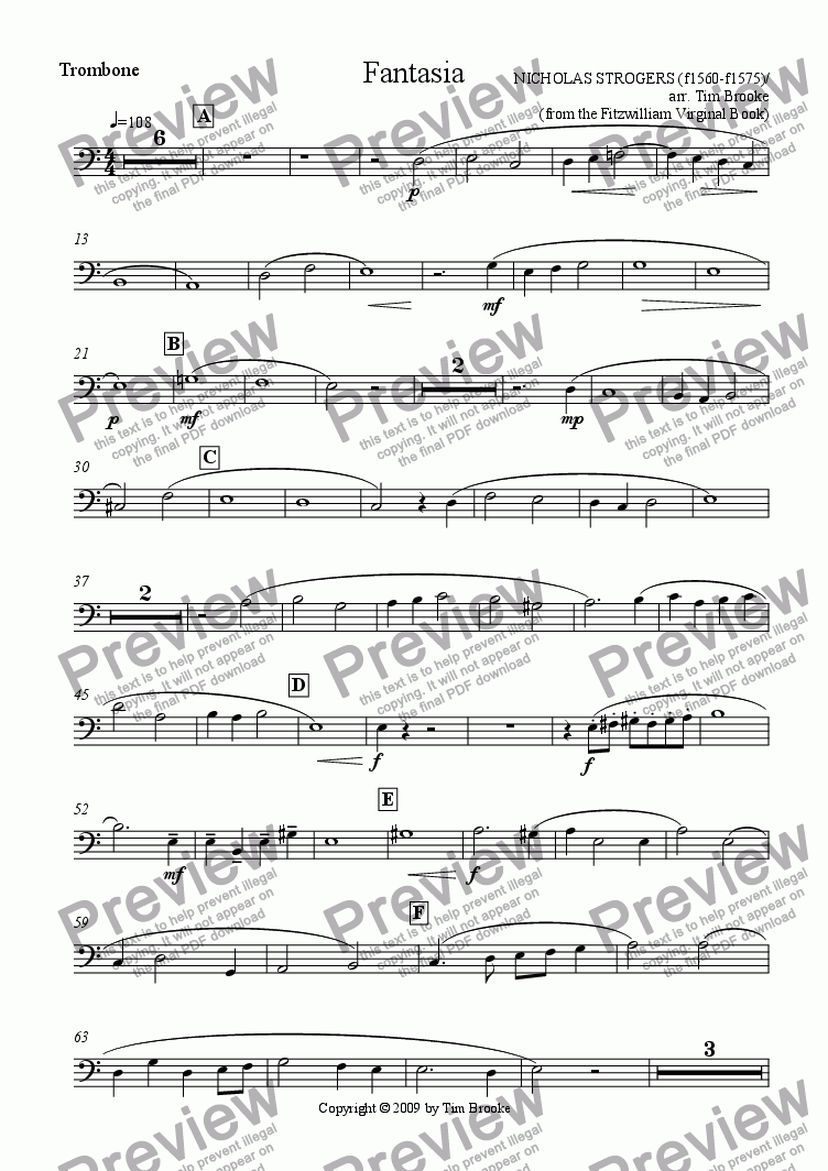 page one of the Trombone part from Strogers: Fantasia - for brass quintet