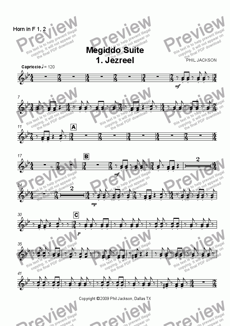page one of the French Horn 1 & 2 part from Megiddo Suite